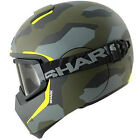 SHARK VANCORE WIPEOUT MATT CAMO GREEN YELLOW MOTORCYCLE URBAN HELMET + GOGGLES