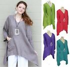 MOSAIC USA 2490 Linen ANGLED PANEL POCKET PULLOVER Tunic Top S M L XL 2016 COLOR