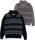 Ben Sherman Fairisle Shawl Collar Sweater, pullover, Navy or Grey, NWT, Mod Fit