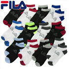 12 Pair Men's/Boys FILA Shock Dry Ankle Athletic Sport Low Cut Socks Black White