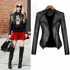 Fashion Women's Slim Biker Motorcycle Jacket Coat PU Soft Leather Zipper Outwear