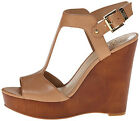 Vince Camuto Women's MATHIS Platform Wedge Sandal ALMOND TOAST