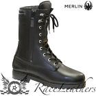 MERLIN BLACK MID LENGTH COMBAT ARMY WATERPROOF MOTORCYCLE MOTORBIKE BOOTS