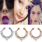 Nose Ring Fake Septum Clicker Non Piercing Hanger Clip On Crystal Jewelry New