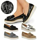 NEW WOMENS LADIES LOAFERS CREEPER PUNK PLATFORM LACE UP SCHOOL SMART SHOES SIZE