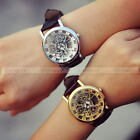 Fashion Men Leather Band Watches Hollow Roman Numerals Dial Quartz Watch