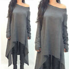 Sexy Womens Loose One Shoulder Irregular Dress Long Jumper Blouse Tops Pullover