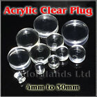 4mm to 30mm Solid Clear Acrylic Saddle Plug / Tunnel