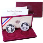 1983 1984 S Los Angeles Olympics 2 Coin Proof Commem 90% Silver Dollar OGP Coin