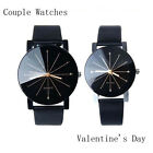 Fashion Men's Women Date Leather Stainless Steel Sport Quartz Couple Wrist Watch