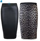 Womens WET LOOK FAUX LEATHER PENCIL BODYCON HIGH WAISTED MIDI SKIRT lot SIZEs