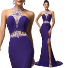Womens Masquerade Bridesmaids Spilt Prom Gown Formal Evening Long Dresses 6~20