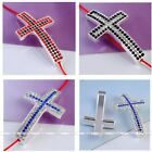 1x Silver Plated Crystal Pave 3mm Hole Cross Bead Connector Fit Charms Bracelet