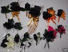 2PCS Corsage Boutonniere Black Roses Many other colors too Pick Wrist or Pin On