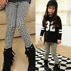 Toddlers Boys Girls Houndstooth Pattern Fleece Lined Pants Warm  Leggiings P476