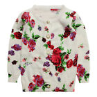 New Kids Boys Girls 100% Cotton Floral Image Cardigan Sweater 0-3T S1047