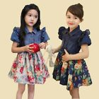 Kids Girls Quality Dots Denim Tops And Floral Skirt Faux 2 Pieces Dress D594