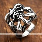 1x Punk Gothic Men 316L Stainless Steel Dragons Claw Skull Heavy Biker Band Ring