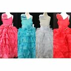 NEW Girls Bijou Kids #3914 Lace Ruffle Pageant Dress Coral Aqua White Red Gown