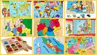 Wooden Puzzles World Map Flags Globe Geography German Children Kids Jigsaw