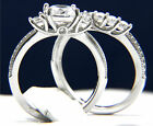 925 Sterling Silver 0.84 ct Solitaire CZ Women Engagement Wedding Band Ring Set