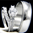 3 PCS Women's Engagement Sterling Silver Men's Wedding Bridal Band Ring CZ Set