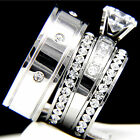 2.04 CT Solitaire Clear CZ Engagement 316L Stainless Steel Wedding Rings Set