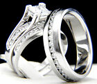 1.24 CT Solitaire CZ Engagement Sterling Silver Stainless Steel Wedding Ring Set