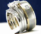 0.95 CT CZ Stainless Steel Women's Engagement Men's Wedding Bridal Band Ring Set