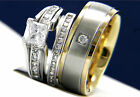 1.24 CT Clear Solitaire CZ Engagement Brass Stainless Steel Wedding Ring Set