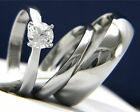 316L Stainless Steel Men's & Womens Engagement Wedding 0.84 ct Clear CZ Ring Set