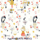 DASHWOOD - MORI GIRLS - CUTE JAPANESE GIRLS &  DOGS ON WHITE 100% COTTON FABRIC