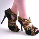 NEW WOMENS BLACK & LEOPARD VELVET OPEN TOE HIGH HEEL PUMP