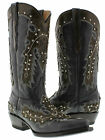 New Women's Cowboy Boots Black Brown Hand Made Studded Leather Snip Toe Overlay