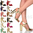 WOMENS LADIES HIGH BLOCK HEEL ANKLE STRAP BUCKLE PEEP TOE SHOES SANDALS SIZE