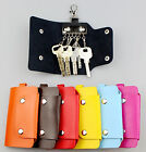 Unisex 6 Clips Pouch Bag Wallet Case Key Holder PU Leather Keychain Key Ring NEW