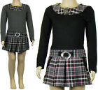 Girls Dresses Short Tartan Long Sleeved Warm Kids Clothes Ages 2-3 & 7-8 Years
