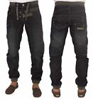 MENS BRAND NEW JEANS EZ304 DARK WASH CUFFED JOGGER STYLE JEANS ALL SIZES