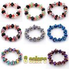 Colorful Crystal Glass Faceted Beads Knitted Stretchy Elastic Bracelet