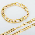 8MM Men Chain Flat Figaro Yellow Gold Filled GF Bracelet Necklace GF Jewelry SET