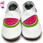 Girls Boys Luxury Leather Soft Sole Baby Shoes - Watermelon White - Inch Blue