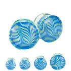 Blue and Green Wave Design Hand Blown Pyrex Glass Ear Plugs Pair