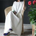 New Womens Large Size Batwing Linen Dress Long Caftan Gown Loose Maternity Dress