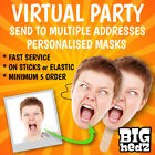 PERSONALISED FACE MASK A3/A4 1,2,3,4,5 Stag Do Hen Night Party Sash PHOTO MASKS