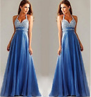 Women's Sexy V Neck Halter Formal Gown Evening Party Cocktail Sequin Long Dress