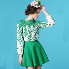 Womens Puff Sleeve Chiffon Hollow Lace Leaf Pattern Shirt Tops Blouse Reliable