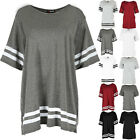Ladies Baggy Mini Dress Womens Short Sleeve Sports Stripe Oversize Pullover Tops
