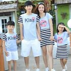 Summer striped Family mother daughter father son outfits Matching clothes Kiss
