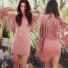 Fashion Lady Slim Long Sleeve Fringe Bodycon Dress Sexy Women Club Mini Dress
