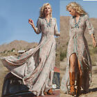 New Women's Sexy Boho Summer Casual Chiffon Evening Party Beach Long Maxi Dress